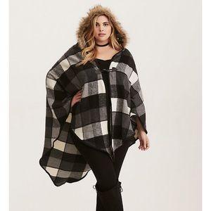 Torrid Plaid Fleece Faux Fur Hood Cape 00X-2X